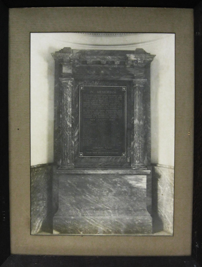 A1552 Framed image of WWI memorial plaque with newspaper article