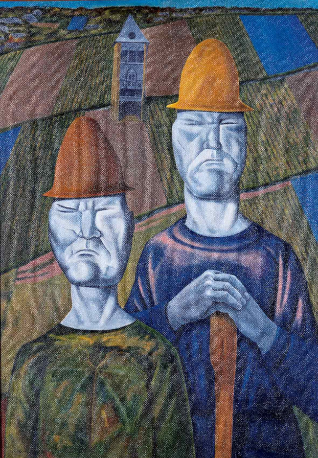 Bensemann Figures in a Vineyard