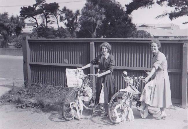 Invercargill Shirley Cruickshank and June Thomsens bikes decorated prior to their weddings 1959