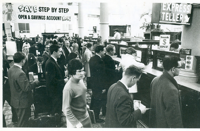 Last day of sterling currency Wgtn branch July 1967