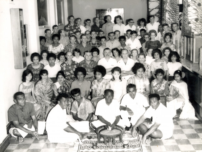 Suva staff dressed up for Hibiscus week 1965 Ian Pettigrew right back side printed shirt