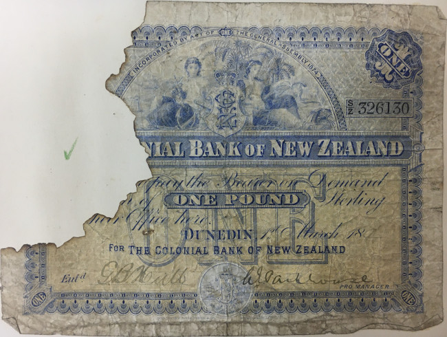 The Colonial Bank of NZ One pound note c1890
