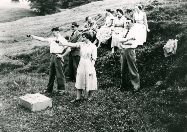 Wellsford staff revolver shooting practice 1955